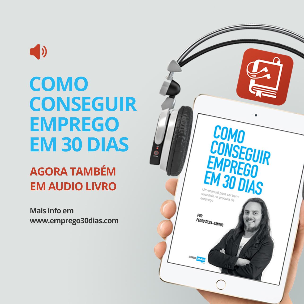 Audio Livro Como conseguir emprego em 30 dias - quadrado