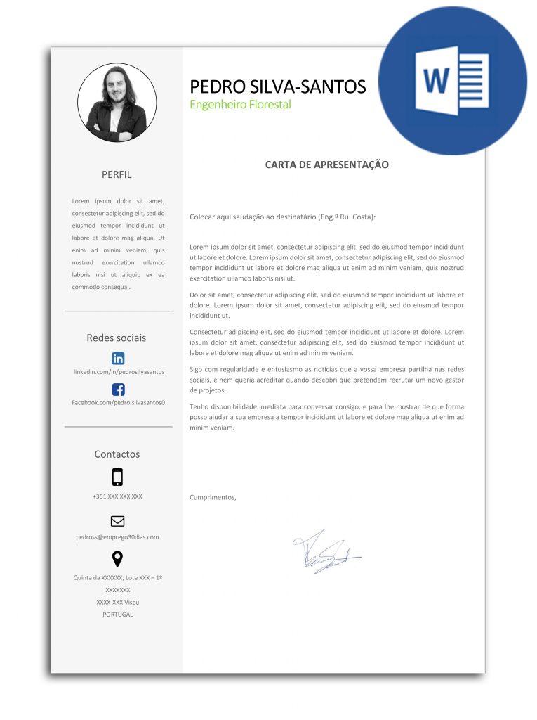 carta de apresentacao editavel em Word - Pedro Silva-Santos