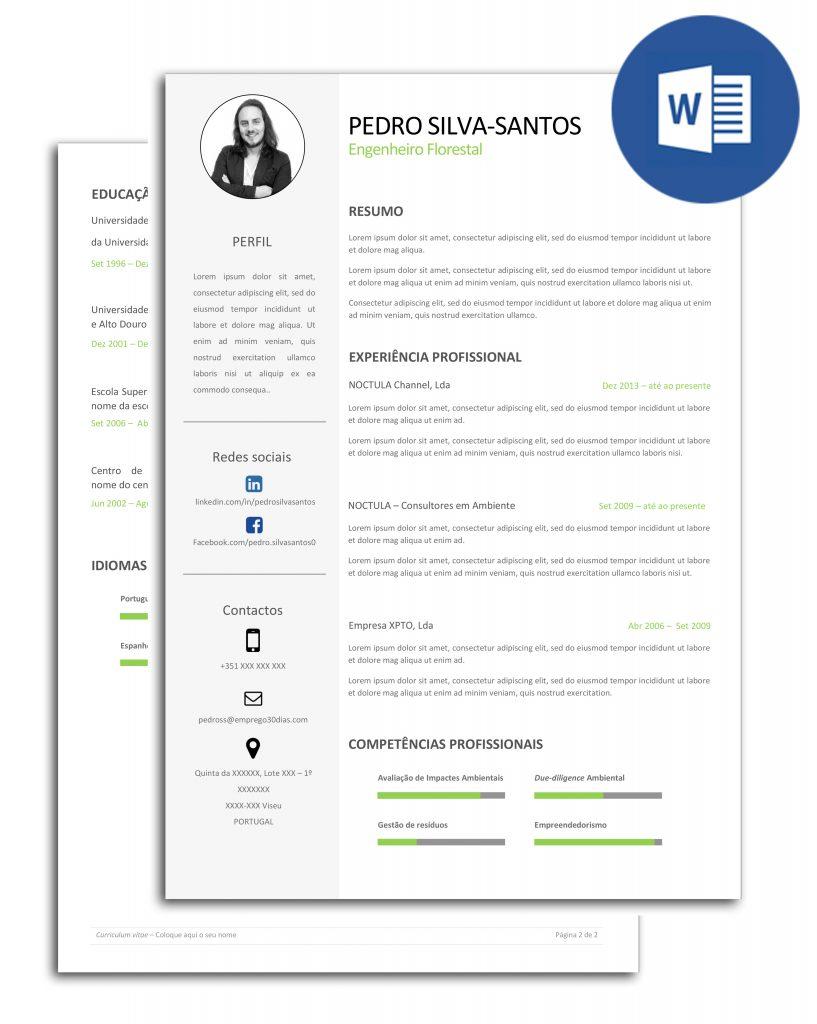 curriculo criativo editavel em Word - Pedro Silva-Santos